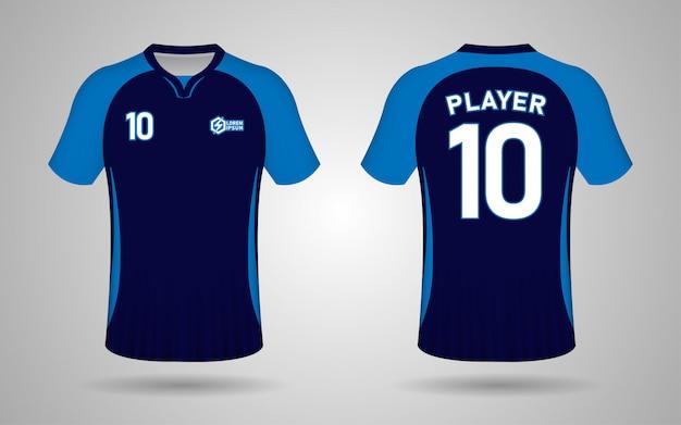 Modelo de design de kit de futebol de cor azul escuro