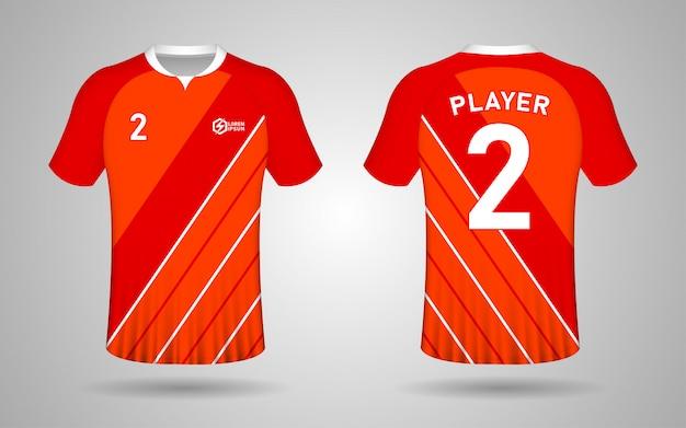 Modelo de design de kit de futebol de cor laranja e vermelho