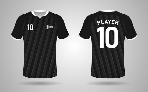 Modelo de design de kit de futebol de cor preto e cinza