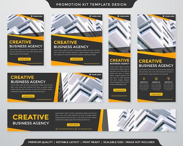 Modelo de design de kit de promoção com layout moderno e estilo abstrato