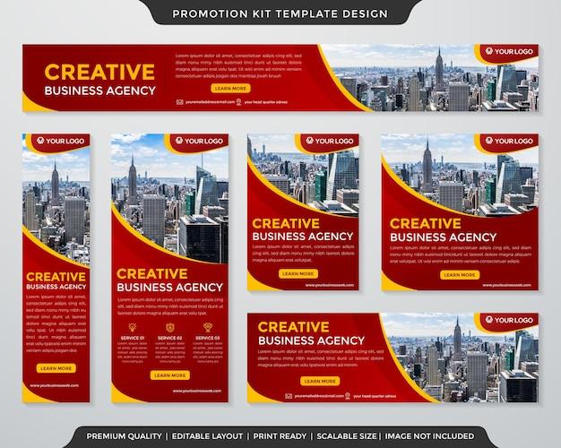 Modelo de design de kit de promoção de negócios