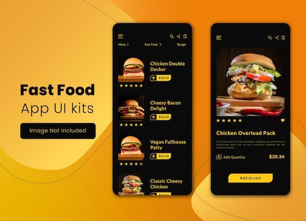 Modelo de design de kits de iu de aplicativos móveis de restaurante