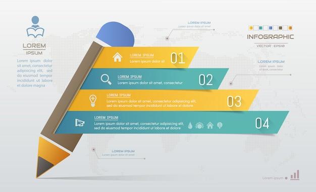 Modelo de design de lápis infográficos com ícones