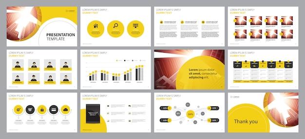 Modelo de design de layout de apresentação de negócios amarelo