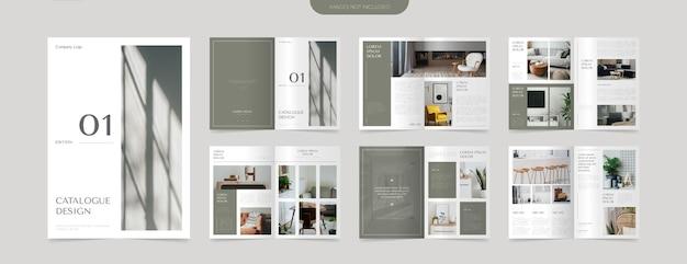 Modelo de design de layout de catálogo verde moderno