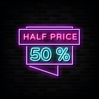 Modelo de design de letreiros de néon pela metade do preço