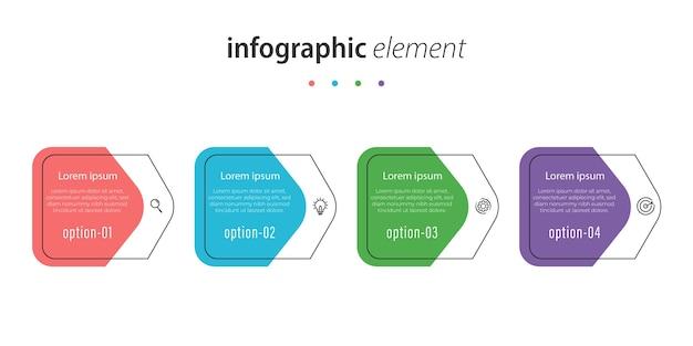 Modelo de design de linha de infográfico de negócios