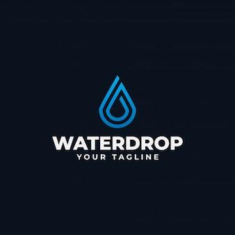 Modelo de design de linha de logotipo de gota de água abstrata simples