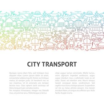 Modelo de design de linha de transporte de cidade. ilustração em vetor de conceito de contorno.