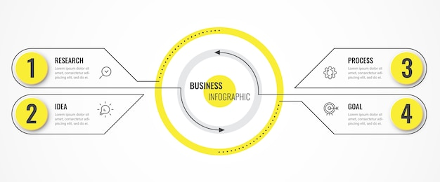 Modelo de design de linha fina de infográfico circular com setas e 4 opções ou etapas.