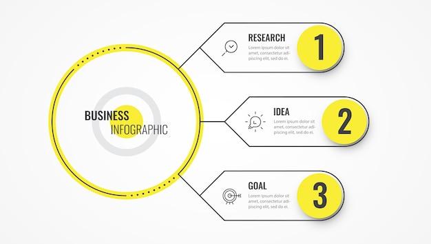 Modelo de design de linha fina de infográfico com setas e 3 opções ou etapas.