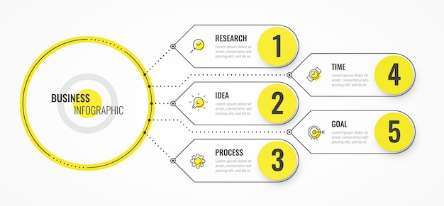 Modelo de design de linha fina de infográfico com setas e 5 opções ou etapas. Vetor Premium