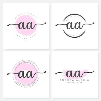 Modelo de design de logotipo aa com letras florais femininas