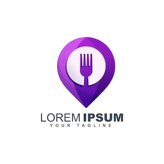 Modelo de design de logotipo abstrato colorido pino talheres comida