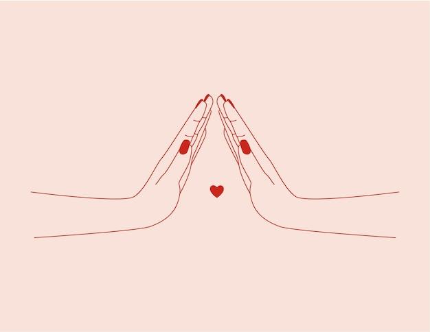 Modelo de design de logotipo abstrato de vetor em estilo linear moderno mãos corações e estrelas abstrato