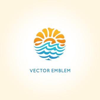 Modelo de design de logotipo abstrato de vetor - sol e mar