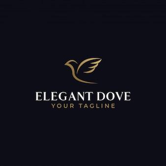 Modelo de design de logotipo abstrato elegante pássaro pomba voadora