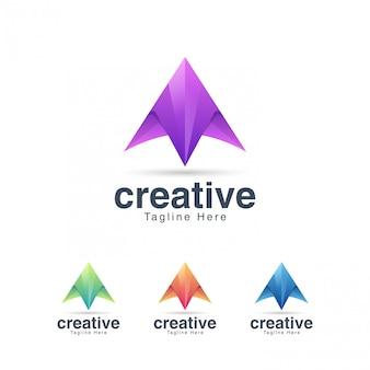 Modelo de design de logotipo abstrato letra a criativa