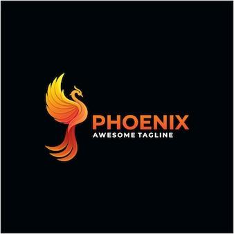 Modelo de design de logotipo abstrato phoenix cor moderna