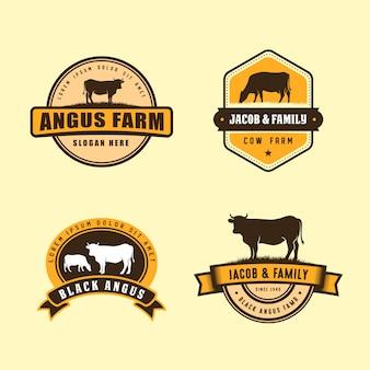 Modelo de design de logotipo angus preto. design de logotipo de fazenda de vaca