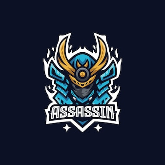 Modelo de design de logotipo assassino esport