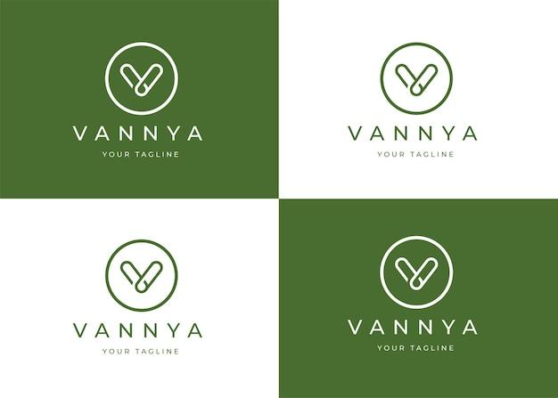 Modelo de design de logotipo av de letra minimalista com forma de círculo
