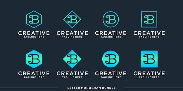 Modelo de design de logotipo b inicial abstrato de monograma