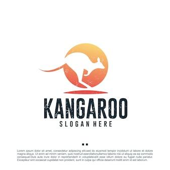 Modelo de design de logotipo canguru australiano