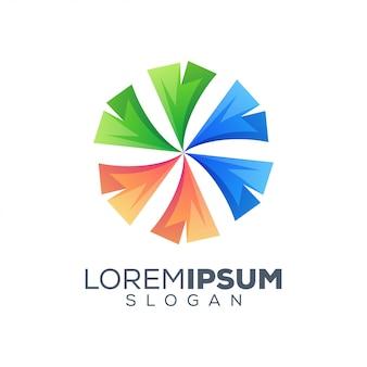 Modelo de design de logotipo colorido abstrato