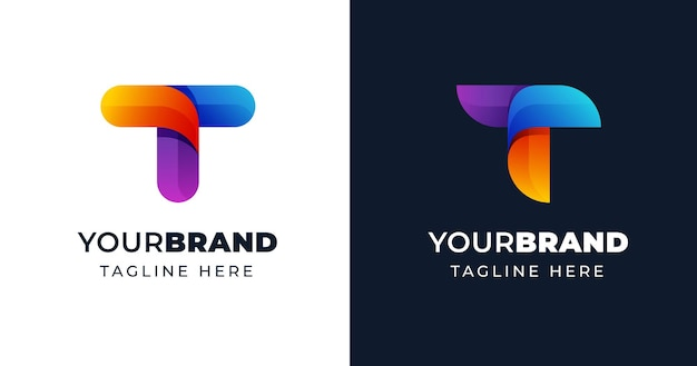 Modelo de design de logotipo colorido com letra t