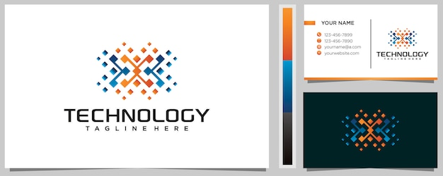 Modelo de design de logotipo colorido com letra x e cartão de visita
