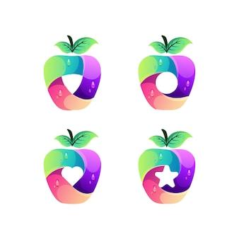 Modelo de design de logotipo colorido da apple