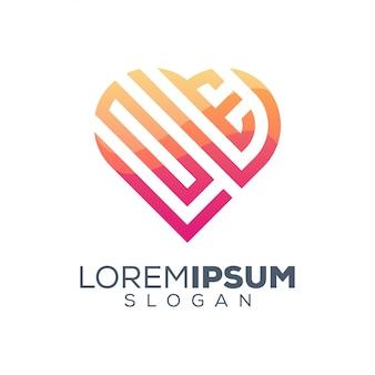 Modelo de design de logotipo colorido de amor