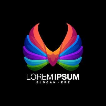 Modelo de design de logotipo colorido de asa incrível