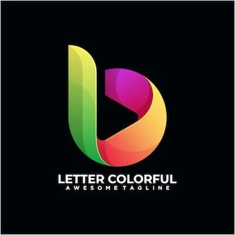 Modelo de design de logotipo colorido de carta moderno