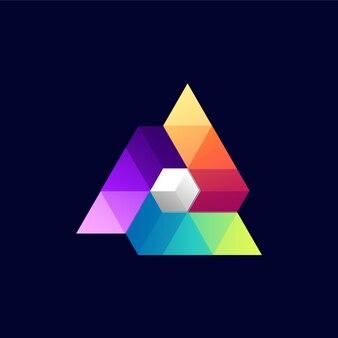 Modelo de design de logotipo colorido de cubo
