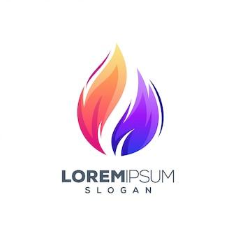 Modelo de design de logotipo colorido de fogo