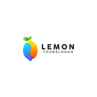 Modelo de design de logotipo colorido de limão