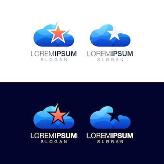 Modelo de design de logotipo colorido de nuvem