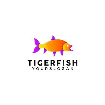 Modelo de design de logotipo colorido de peixe tigre