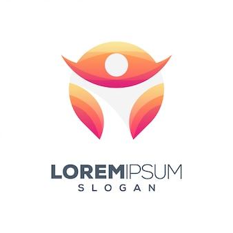 Modelo de design de logotipo colorido de pessoas