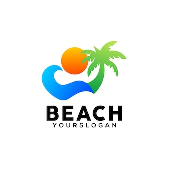 Modelo de design de logotipo colorido de praia