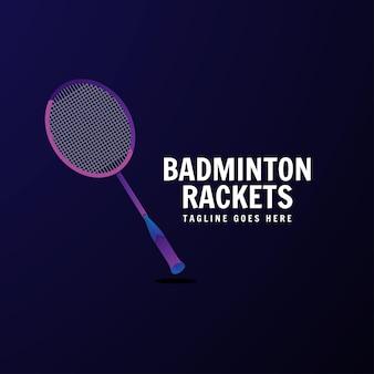 Modelo de design de logotipo colorido de raquetes de badminton