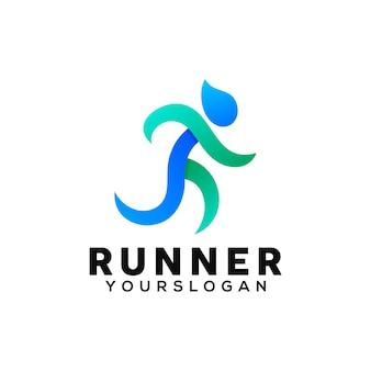 Modelo de design de logotipo colorido do corredor