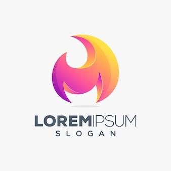 Modelo de design de logotipo colorido fire