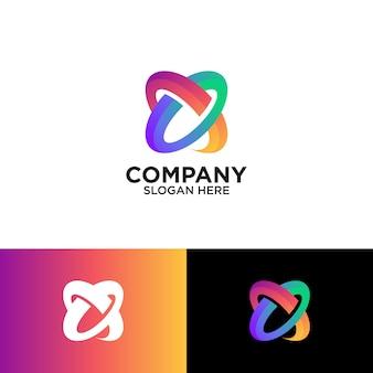 Modelo de design de logotipo colorido letra x