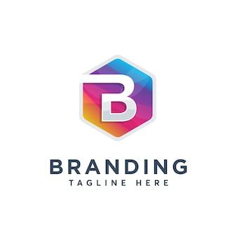 Modelo de design de logotipo colorido moderno letra b