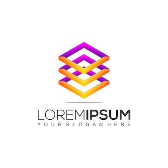 Modelo de design de logotipo colorido quadrado