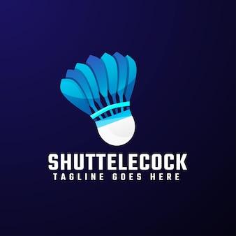 Modelo de design de logotipo colorido shuttelecock