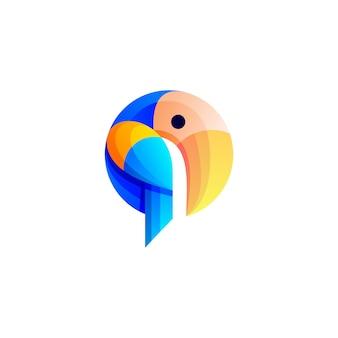 Modelo de design de logotipo colorido tucano